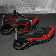 2019 New Casual Men's Single Shoes fly Woven Breathable Men's Running Hiking Sports Shoes red 42