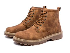 British trend men's high help winter new tooling shoes wild Martin boots shoes light brown 39