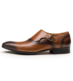 Hand-carved buckle buckle men's shoes British wind Brock business casual men's shoes brown 43 microfiber leather