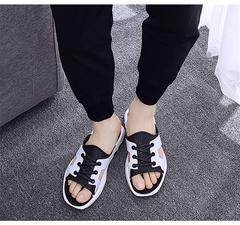 Summer tide slippers men's sandals 2019 pinch tide male Korean version of the non-slip white 40