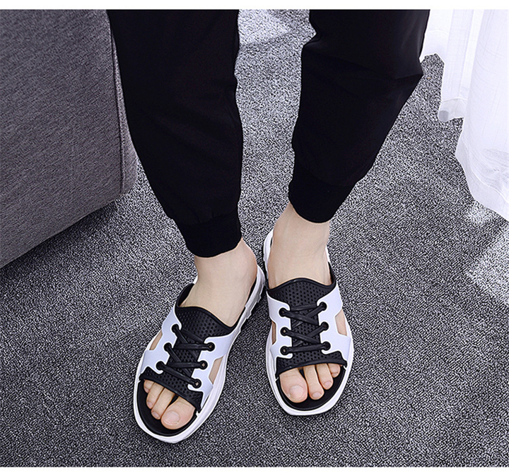 Summer tide slippers men's sandals 2019 pinch tide male Korean version of the non-slip white 40