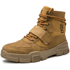 Fashion casual comfort high help British breathable men's shoes retro wild desert boots khaki 39