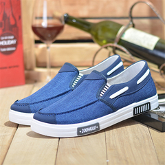 Men's summer breathable one foot men's shoes casual shoes old Beijing cloth shoes men's shoes blue 39
