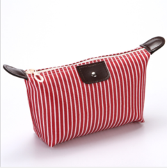 Striped dumplings cosmetic bag dumplings package folding  makeup wash bag bath bag travel bag red white stripe 26*11*8cm(l*h*w)