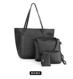 women bag 2019 new wave fashion lychee pattern 4pcs cover mother bag tassel slung shoulder bag black as the descriptions