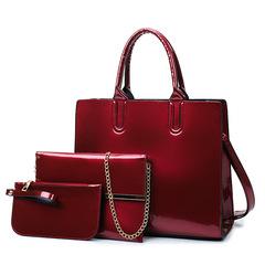 2019 new ladies bag other shoulder bag zipper PU shoulder slung portable bright surface wine red as the descriptions