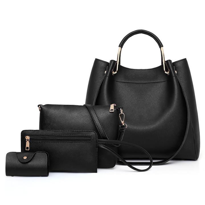 2019 new arrival women wild bag foreign trade mother multi-piece bag shoulder diagonal package black as the descriptions