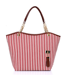 2019 New striped tassel canvas bag fashion handbag large capacity shoulder bag casual handbag navy and white stripe as the descriptions