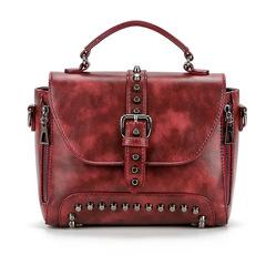 Bag for women 2019 women bag rivet bag double pull shoulder Messenger women bag handbag wine red as the descriptions
