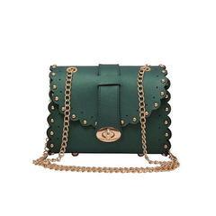 2019 hollow rivet Messenger bag fashion wild shoulder bag tide female chain bag for women GREEN as the descriptions