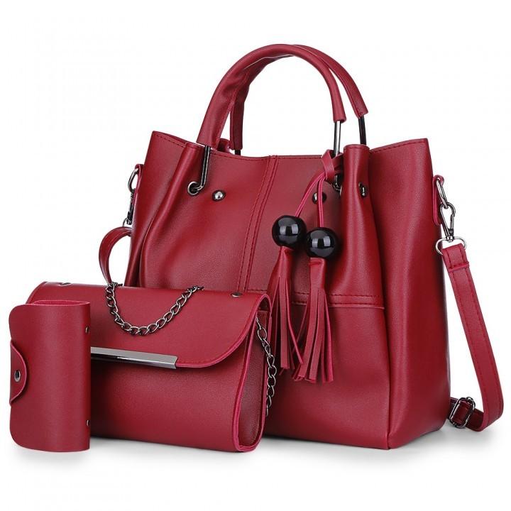 3pcs PU Leather Tassel Handbag Women Shoulder Cros wine red as the descriptions