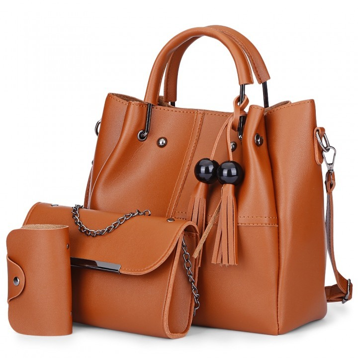 3pcs PU Leather Tassel Handbag Women Shoulder Cros khaki as the descriptions