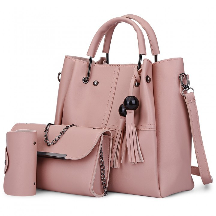 3pcs PU Leather Tassel Handbag Women Shoulder Cros pink as the descriptions