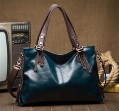 Bag for women 2019 leather handbag fashion shoulder bag portable diagonal package oil wax bag navy as the descriptions