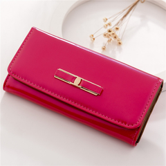 Women's wallet in the long mobile phone bag bow bright leather new large capacity women's bag rose red as the descriptions