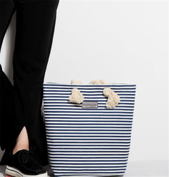 Canvas bag fashion new shoulder bag handbags simple wild women bag shoulder bag striped bag navy as the descriptions