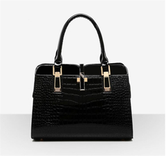 2019 new wave handbags fashion middle-aged ladies bag crocodile pattern bright leather women's bag black as the descriptions