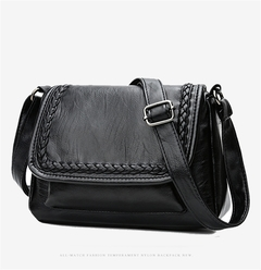 Diagonal Cross Bag Ladies Shoulder Bag Wholesale PU wave soft Leather Handbag black 25*8*17CM black as the descriptions