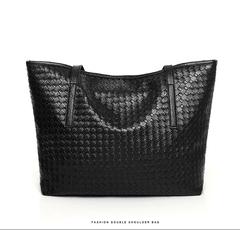 Woven twist PU simple tote bag large capacity single shoulder diagonal handbag women bag black as the descriptions