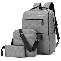 Smart usb charging men's backpack Oxford large capacity waterproof travel bag student child bag gray as the descriptions