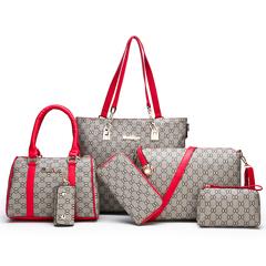 Women's bag 2019 new fashion mother bag six-piece simple wild shoulder Messenger bag print handbag red as the descriptions