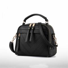 Ladies bag 2019 new women's bag handbag simple fashion shoulder bag slung small bag tassel black as the descriptions