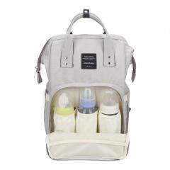 Waterproof Baby Stroller Bag Nappy Changing Bags Baby Diaper Backpack light grey 25*14*40cm
