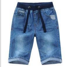 Boys Kids Pull On Denim Adjustable Half Length Summer Jeans Shorts blue 3-4 years