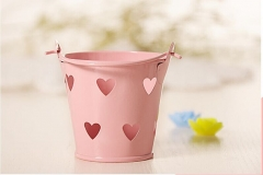 Mini Hollow Bucket Small Iron Bucket Candy Snack Storage Gardening Metal Crafts Tin Pail pink
