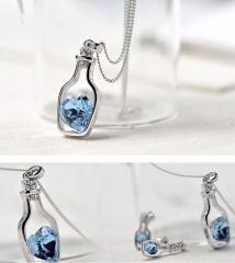 Wish Bottle Necklace Flash Diamond Necklace Austria Crystal Necklace Love Bottle Necklace gold one size