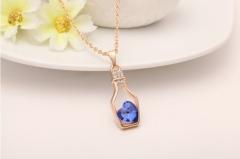 Wish Bottle Necklace Flash Diamond Necklace Austria Crystal Necklace Love Bottle Necklace blue one size