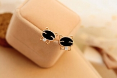 Lovely Earrings Black Cat Smiley Face Cat Diamond Exquisite Stud Earrings one color one size