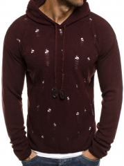 New Solid Color Ripped Hot Style Sweater wine red m