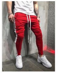 Autumn Winter Young Men's Casual Pants Color Hip-hop Fitness Foot Zipper Stitching Trousers red + white m