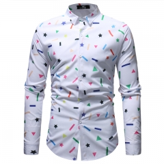 Fashionable And Casual Geometric Pattern Printing Men's Long Sleeve Shirt white m