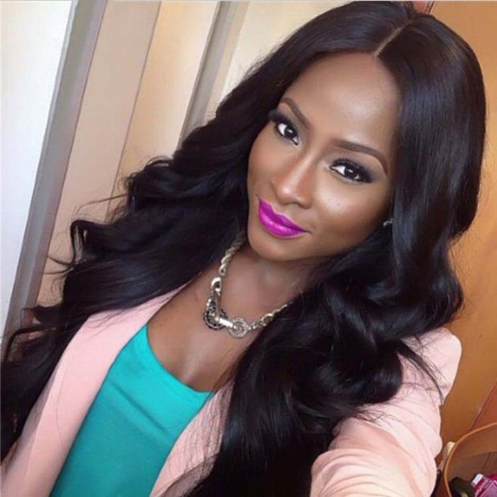 Body Wave Front Human Long Wigs For Women Hair Virgin Hair Wig Brazilian Remy Human Wigs Ladies black as    picture