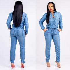 Fashionable Tie Jeans For Ladies' Slim And Casual Jumpsuit blue s