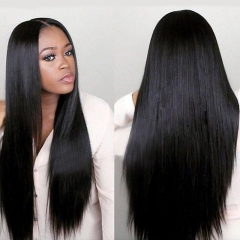 Eayon Hair Virgin Front Wig Brazilian Remy Human Synthetic Wigs In The Long Straight Hair Wig Cap Black one  size