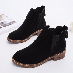 Martin Boots Female Short Boots  Build Round Head Thick Heel Cover Feet Retro Autumn black 35