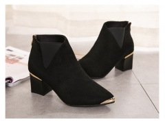 Chunky And Steel-Top Ankle Boots Of Autumn And Winter Are Perfect For Bare Leather Boots Black 35