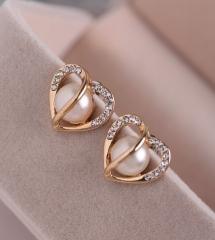 Earrings Diamonds Pearls, Loveheart Shape Student Jewelry Earrings one color one size