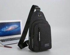 Chest Bag Man New Casual Waterproof Riding Bag Slanted Shoulder Bag Canvas Backpack Black one   size