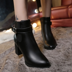 Stiletto Boots For Women With Thick Straps With Buckles For Thick-Soled Ducts Black 35