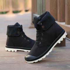 Men's High Top Casual Canvas Shoes Men's Outdoor Sports Shoes Fashion Shoes black 39
