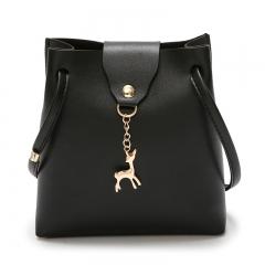 Mini Bucket Bag For Women Belt And Deer Pendant Bag Single Shoulder Bevel Straddle black 17cm*19cm*5cm