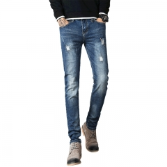 Men Stretch Jeans Casual Long Pants Young Men's Ripped Pants Little Feet Pants Fall Winter Style Light Blue 28