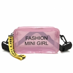 See-Through Purse Women's New Trendy One-Shoulder Jelly Bag Wide Shoulder Strap Slanted Satchel Bag purple 18cm*11cm*7cm