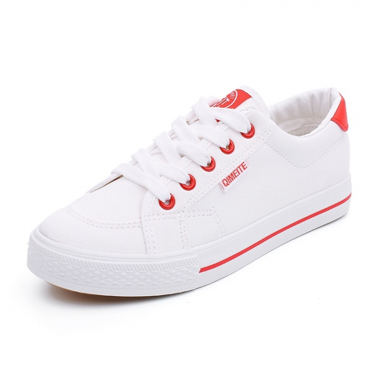 2ff90248939f Female s Small White Shoes Breathable Canvas Shoes Joker Black Board Shoes  white and red 39