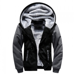 Men's Street Hoodie Hooded Cardigan Oversize Men's European size Warm Coat Black Grey m
