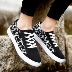 Autumn Winter New Men's Shoes Fashion Casual Shoes Low Help Sports Shoes BLACK WHITE 39